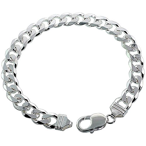 Sterling Silver Thick 9-17 Mm Curb Link Bracelets Nickel Italy 7-10 Inches