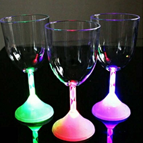 Led Flashing Red Wine Cup Color Changing Light Bar KTV Water Cocktail Cups Glass Creative ()