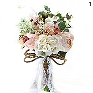 BEST.LIV 1Pcs Rustic Wedding Bouquet Peony Bridesmaid Bouquet Artificial Holding Flowers for Wedding 72
