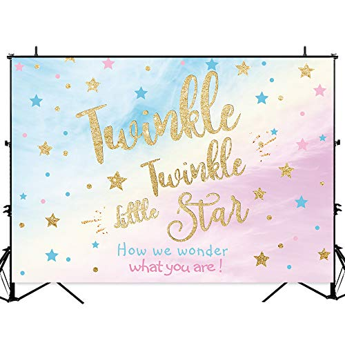 Allenjoy 7x5ft Twinkle Twinkle Little Star Photography Backdrops Blue Pink Rainbow Sky Gold Glitter Stars Boy Or Girl Gender Reveal Background Gender Surprise Party Banner Photo Booth Props ()