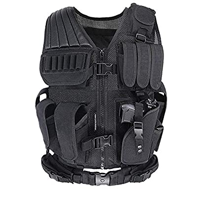 MGFLASHFORCE Adjustable Tactical Vest Ultra-Light Airsoft Vest Breathable Military Combat Black Training Vest for Outdoor Hunting,Fishing,Army Fans,CS Game,Paintball,Survival Game, Combat Training