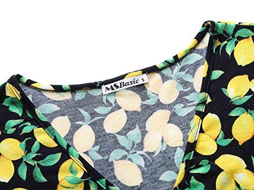 V Floral Dress Casual Flared Deep Neck Midi Unique Women's Short 3 Cross MSBASIC Sleeve Wrap wEqF4TWwC