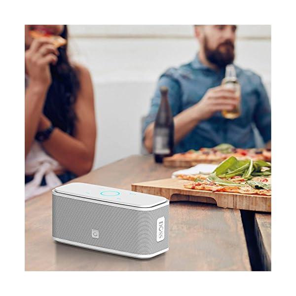 Enceinte Bluetooth 12W, DOSS SoundBox Haut-Parleur Bluetooth sans Fil Portable,Commande Tactile et Définition Stéréo, 12 Heures d'Autonomie en Lecture,Mains Libres Téléphone, Carte TF Support.- Blanc 5