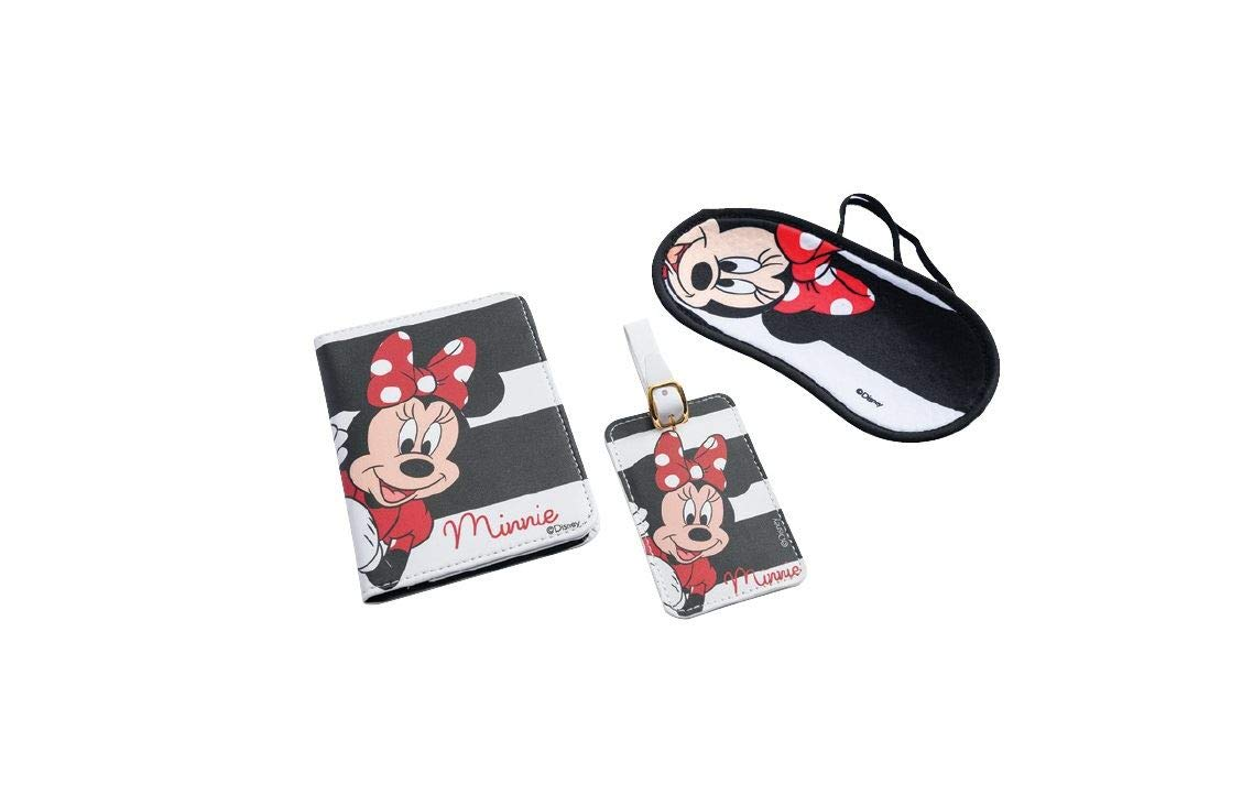 Disney Minnie Mouse Travel Set Blindfold Passport Cover & Name ID Tag for Suitcase