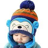 Luoke Winter Baby Boy Girl Kid Toddler Infant Cotton Knit Monkey Warm Hat Cap (Blue)