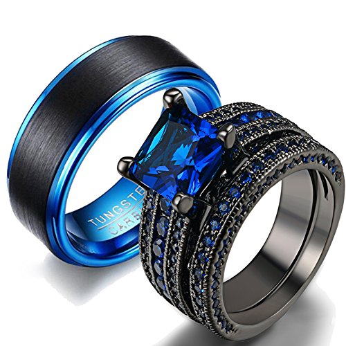 LOVERSRING Couple Ring Bridal Set His Hers Women Black Gold Plated Blue CZ Men Stainless Steel Wedding Ring Band by LOVERSRING