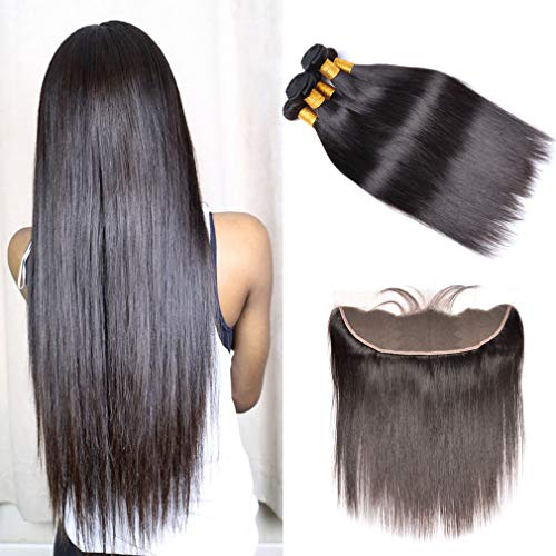 GEM Beauty Brazilian Straight Virgin Hair Bundles with Frontal Unprocessed Human Hair 3 Bundles with Frontal Closure Straight Hair 20 22 24 with 18 inch 1B Color (Best Beauty Supply Virgin Hair)