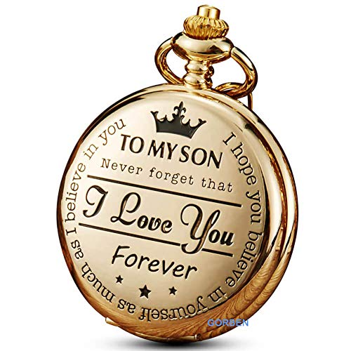 Golden Pocket Watch to Son I Love You Forever Gifts from a Mom Dad Engraved Fob Watches Chains for Kids (You Watch)