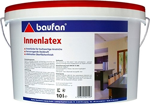 Baufan Innenlatex Latexfarbe matt weiß scheuerbeständig 10l