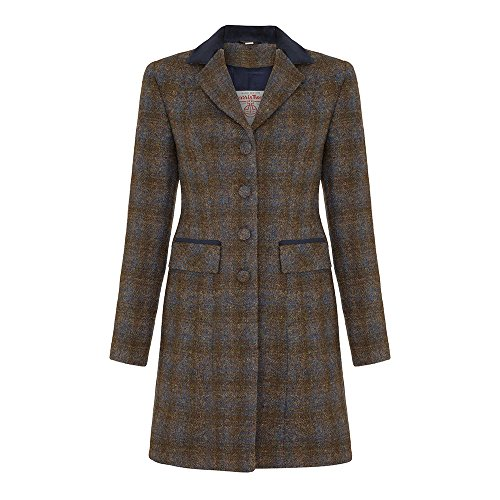 Ladies Harris Tweed Coat, Navy, 8 (Harris Tweed Coat)
