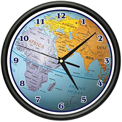Amazon globe wall clock world map atlas geography teacher gift globe wall clock world map atlas geography teacher gift gumiabroncs Choice Image