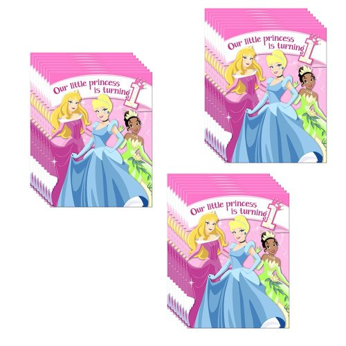 Invitation Disney Birthday Princess - Disney Princess 1st Birthday Invitations w/ Envelopes (8ct)