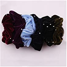 Lovef 7PCS Soft Elegant Velvet Hair Scrunchies Rhinestone Elastic Hair Bands Ties Donut Hair Ponytail Holder Hair Accessories