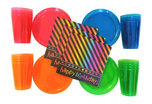 Neon Birthday Party Supplies Pack - Including: Plates, Cups & Napkins for 8 Guests