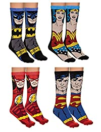 Justice League Unisex 4 Pack Jacquard Knit Crew Socks Gift Set