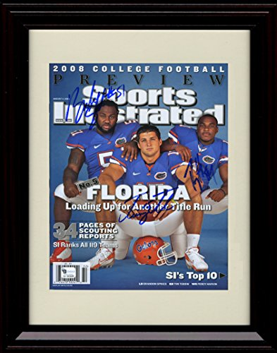 - Framed Tim Tebow, Percy Harvin, Brandon Spikes Sports Illustrated Autograph Replica Print - Florida Gators - National Champs!