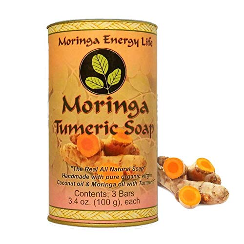 MORINGA TURMERIC SOAP 3-PACK: Rejuvenate Your Skin with All Natural Moringa Soap Bars. Made with Pure Moringa Oil Soap, Organic Virgin Coconut Oil Soap & Turmeric Root