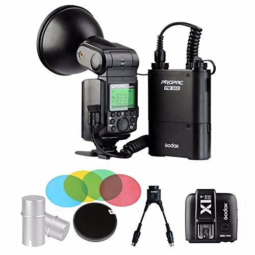 EACHSHOT Godox AD360II-N 360W GN80 i-TTL Flash Speedlite Built-in 2.4G X Wireless System + PB960 Battery + X1T-N + Color Filters + DB-02 Cable by EACHSHOT