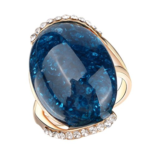 ENCOCO Crystal Stone Rings for Woman Girl Quartz Gemstone Vintage Ring Wedding Band for Party