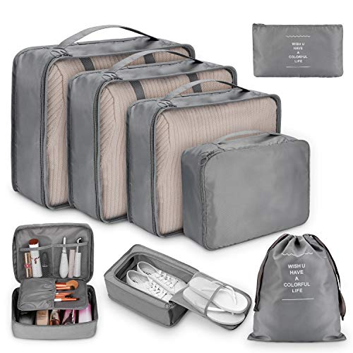 Packing Cubes for Travel, 8Pcs Compression Travel Cubes Set Foldable Suitcase Organizer Lightweight Luggage Storage Bag (Gray)