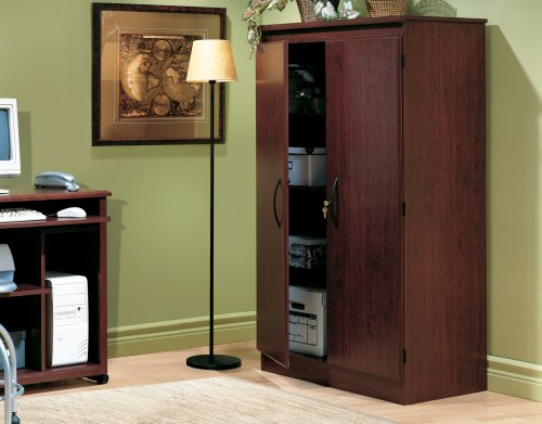 South Shore Tall 2-Door Storage Cabinet with Adjustable Shelves, Royal Cherry - bedroomdesign.us