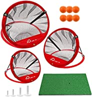 Golf Chipping Net Set of 3 and Mat, Indoor/Outdoor Golf Target Training for Home Backyard, Portable Collapsibl