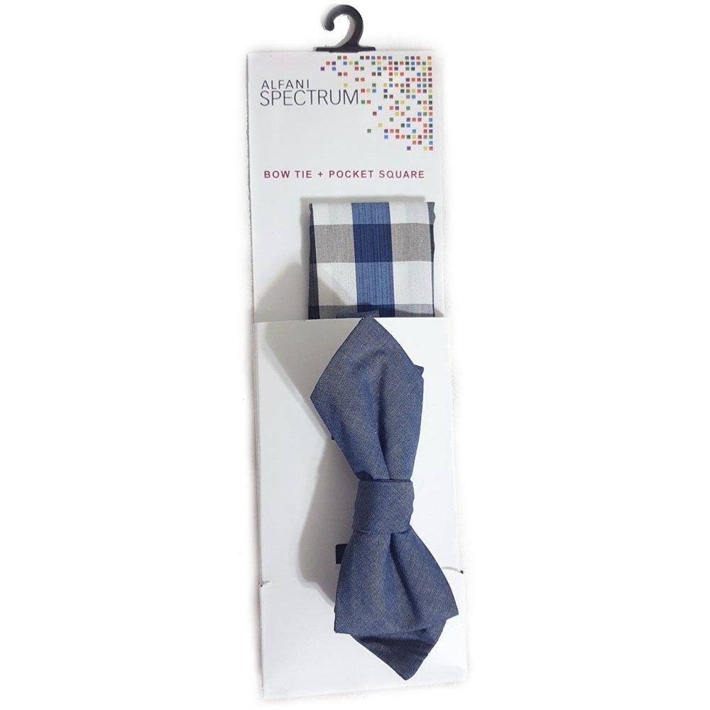 One Size, Purple Alfani Spectrum Max Plaid Bow Tie /& Solid Pocket Square Set