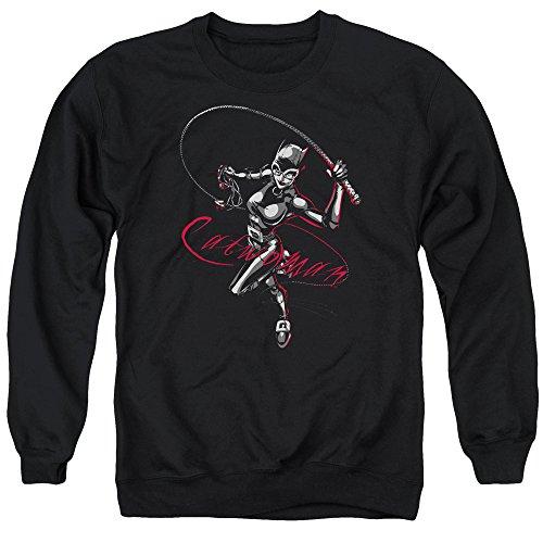 Batman Kitten with A Whip Unisex Adult Crewneck Sweatshirt for Men and Women, Medium Black