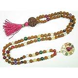 Mala Beads Rudraksha Navratan Round Stone Prayer Yoga Pendant Japa Mala