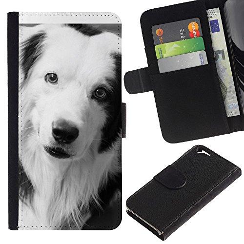 LASTONE PHONE CASE / Luxe Cuir Portefeuille Housse Fente pour Carte Coque Flip Étui de Protection pour Apple Iphone 6 4.7 / Border Collie Black Dog Breed White