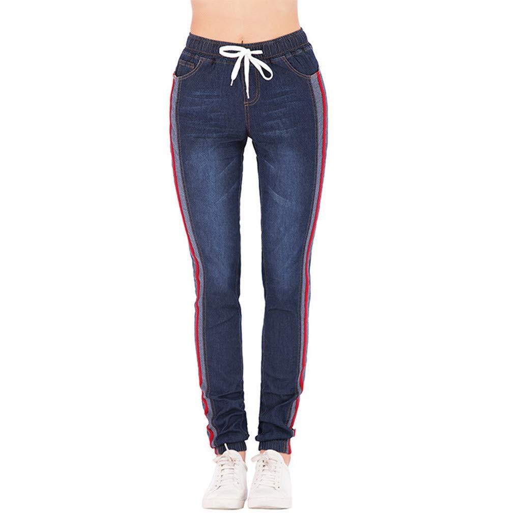 Pantalones Mujer Vaqueros Tallas Grandes con Cordones Cintura Alta Primavera Pantalones Tejanos Largos Mujer Casual Suelto Elá sticos Pantalones Rectos Push up Jeans Leggings Gusspower