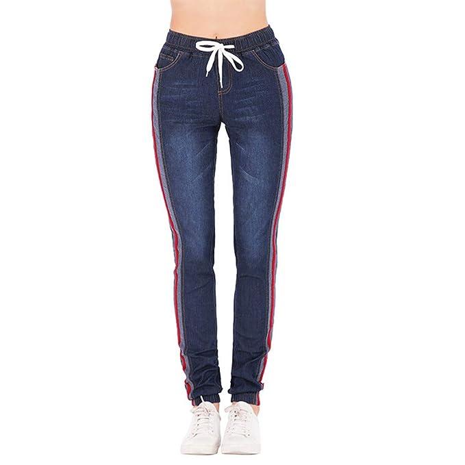 edbc9e3737 Pantalones Mujer Vaqueros Tallas Grandes con Cordones Cintura Alta  Primavera Pantalones Tejanos Largos Mujer Casual Suelto Elásticos Pantalones  Rectos Push ...