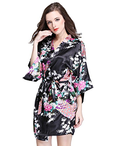 VERNASSA Womens Short Kimono Robes Peacock Blossoms Silk Nightwear Bathrobes