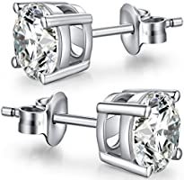 CZ Diamond Stud Earrings,Sterling Silver Round Stud Earrings,Unique Fashion Cubic Zirconia Earrings Stud,Rhodium Plated Stud Earrings Set for Women,Simple Casual Stud Earrings 7mm Nickel Free,Hypoallergenic Earrings