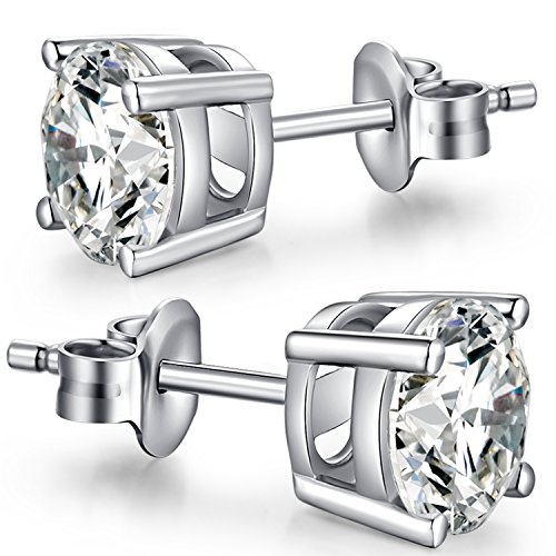 Sterling Silver Diamond Earrings Fake Diamond Earring Fashion Princess Cut Simulated Diamond Earrings Cubic Zirconium Earrings for Women Men Sterling Silver Earrings Simple Faux Diamond Stud Earrings (Zirconium Round Earring)