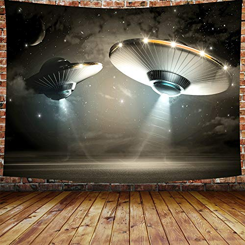 - DBLLF Spaceship Tapestry Black Extraterrestrial Alien Spaceship UFO Flying Saucer Abducting Human Tapestry Wall Hanging 80×60 Inches DBZY362