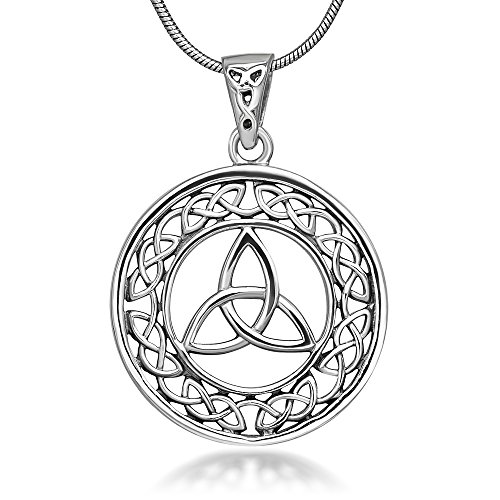 Chuvora Sterling Silver 23 mm Trinity Knot Celtic Symbol Round Weave Pendant Necklace for Women 18''