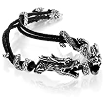Stainless Steel Vintage Double Dragon Black Braided Leather Bracelet Wrist Adjustable Fit 7-9 Inch Wrist