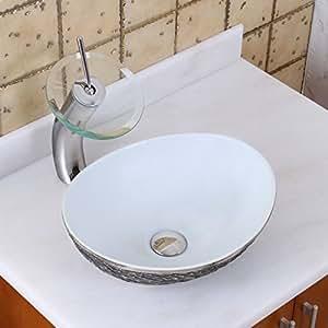ELITE Oval Gray And White Porcelain Ceramic Bathroom