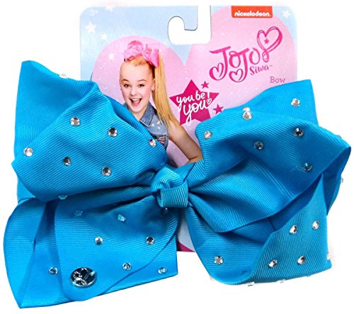 Price comparison product image JoJo Siwa Signature Collection Hair Bow Teal Blue w / Rhinestones