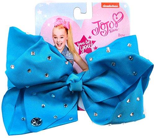 JoJo Siwa Signature Collection Hair Bow Teal Blue w/Rhinestones (Signature Bows)