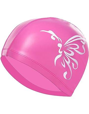LIOOBO Gorra de natación PU Impermeable Sombrero de natación Profesional  para Mujer Adulta - (Pink a8a316ce5d0