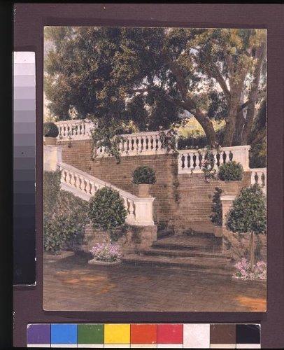 Venetian Masks Los Angeles (Photo: Garden Wall, Stairway, estate of Mrs. F.L. Loring, Pasadena, Los Angeles County, CA . Size: 8)