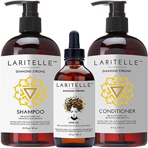 Laritelle Organic Hair Growth Set | Shampoo 17 oz + Conditioner 16 oz + Hair Loss Treatment 4 oz | Argan Oil, Rosemary, Ginger & Cedarwood | NO GMO, Sulfates, Gluten, Alcohol, Parabens, Phthalates