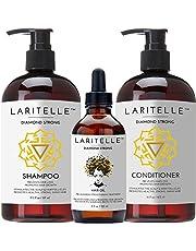 Laritelle Organic Hair Growth Set Shampoo 17 oz + Conditioner 16 oz + Hair Loss Treatment 4 oz Argan Oil, Rosemary, Ginger & Cedarwood NO GMO, Sulfates, Gluten, Alcohol, Parabens, Phthalates