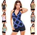 Ladies Push up Tankini with hotpants/Panty two pieces different colors f2581