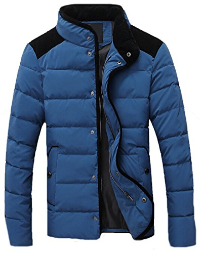 EKU Mens Casual Coat Zipper Button Hit Color Stand Collar Jacket blue l