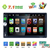 Camecho Android 7.1 Double Din Car Radio Stereo GPS Navigation for Car 7-inch Capacitance Touch Screen DVD Player Support WIFI Bluetooth Mirror Link FM RDS DVR Audio Media Player + Steering Wheel Cont
