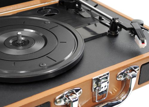 Upgraded Pyle Vintage Record Player - Classic Vinyl Player, Turntable, Rechargeable Batteries, MP3 Vinyl, Music Editing Software Included, USB-to-PC Connection, 3 Speed (Black) - PVTT2UBK by Pyle (Image #2)