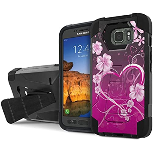 AT&T [Galaxy S7 Active] Armor Case [NakedShield] [Black/Black] Tough ShockProof [Kickstand] Phone Case - [Purple Love] for Samsung Galaxy [S7 Active] Sales
